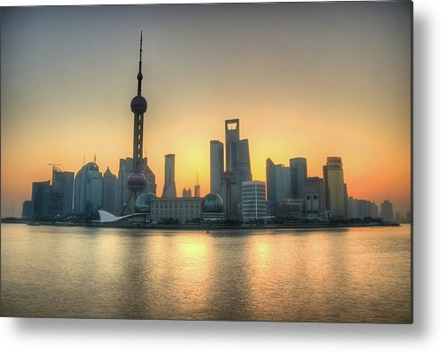 Horizontal Metal Print featuring the photograph Skyline At Sunrise by Photo by Dan Goldberger