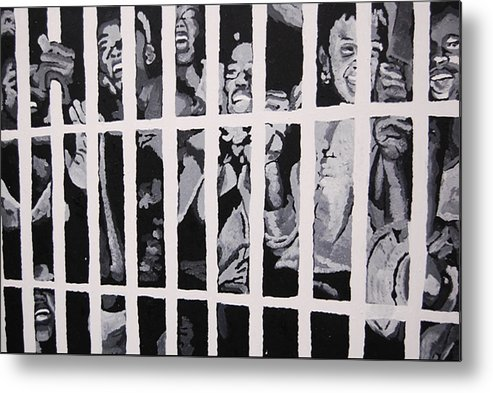 Civil Rights Metal Print featuring the painting Some Of The 210 Demonstrators Jailed Wave From Their Cell 1964 by Lauren Luna