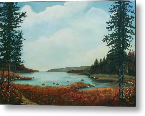 Original Acrylic Landscape Metal Print featuring the painting St Annes Bay Nova Scotia by Sharon Steinhaus
