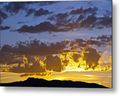 Fort Collins Metal Print featuring the photograph Sunset Over Horsetooth Rock by Harry Strharsky