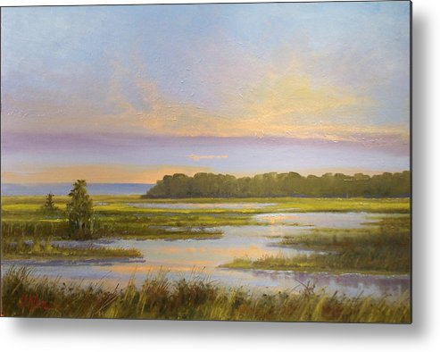 Landscape Metal Print featuring the painting Sunset Over Kootenai by Dalas Klein