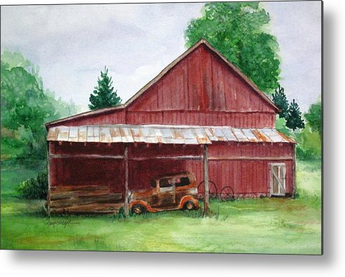 Barns Metal Print featuring the painting Tennessee Barn by Suzanne Krueger