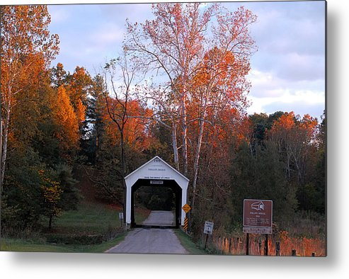 Landscape Metal Print featuring the photograph The Phillips Covered Bridge by John McAllister
