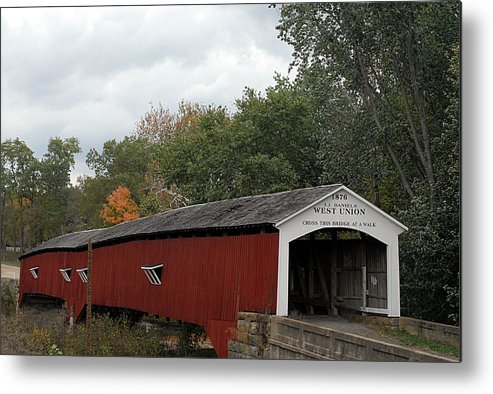 Landscape Metal Print featuring the photograph The West Union Covered Bridge by John McAllister
