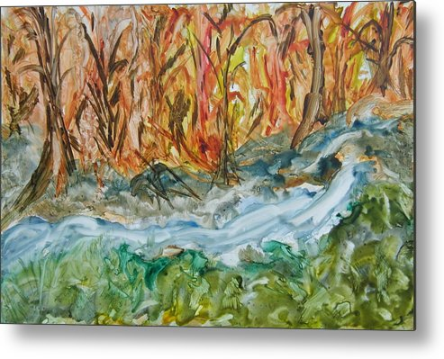 Water Metal Print featuring the painting Up The Creek by Margaret G Calenda