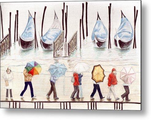 Rain Metal Print featuring the drawing Venice Rain by Julia Collard
