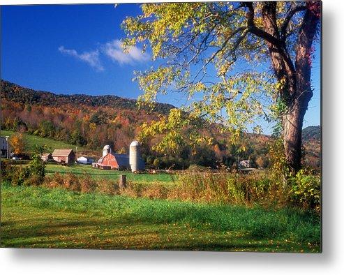 Farm Metal Print featuring the photograph Vermont Farm In Autumn by John Burk