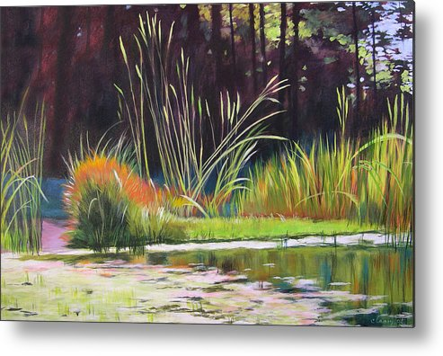 Acrylic Metal Print featuring the painting Water Garden Landscape by Melody Cleary