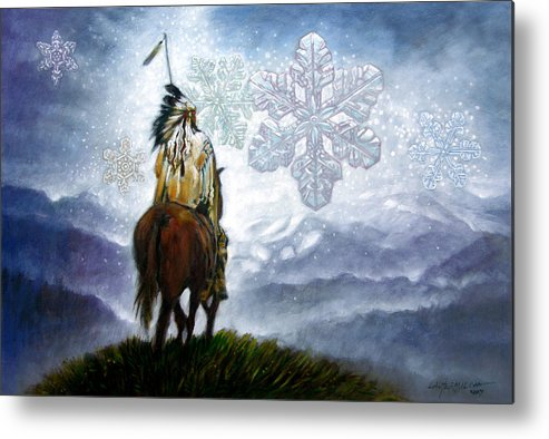American Indian Metal Print featuring the painting We Vanish Like The Snow Flake by John Lautermilch