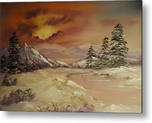 Winter Metal Print featuring the painting Winter Sunburst by James Higgins