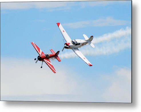 Airplanes Metal Print featuring the photograph Yak 55 And Yak 18 by Larry Keahey