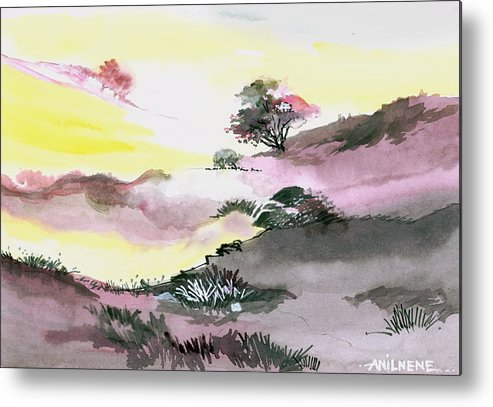 Floral Metal Print featuring the painting Landscape 1 by Anil Nene