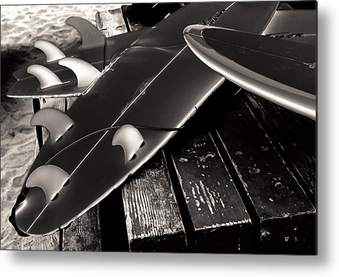 Fins And Boards Metal Print featuring the photograph Fins And Boards by Ron Regalado