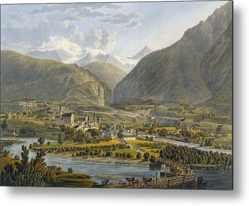 Switzerland Metal Print featuring the drawing Brig On The Rhone, Bernese Alps by Swiss School