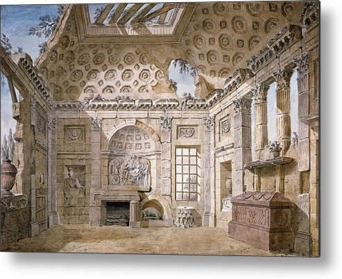 Neo-classical Metal Print featuring the drawing Monastery Of St Trinita Del Monte by Charles Louis Clerisseau