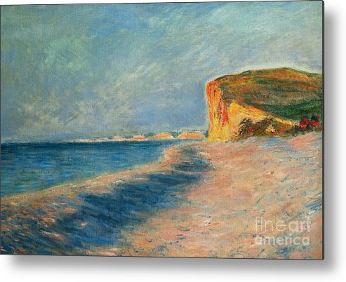 Outdoor; Outdoors; Outside; Painting; Peace; Peaceful; Perspective; Picturesque; Positive Concepts; Pourville; Pourville Pres De Dieppe; Quiet; Receding View; Rock; Sea; Seine Maritime; Shore; Shoreline; Sky; Still; Sun; Sunlight; Sunny; Tide; Time Of Day; Tranquil; Tranquility; Water; Waves Metal Print featuring the painting Pourville Near Dieppe by Claude Monet