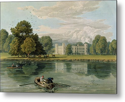 Neo-classical English Architecture Metal Print featuring the drawing Sion House, Engraved By Robert Havell by William Havell