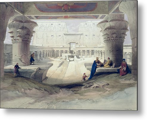Ruins Metal Print featuring the drawing View From Under The Portico Of Temple by David Roberts