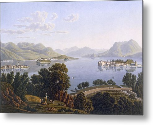 View Metal Print featuring the drawing View Of Lake Maggiore And The Borromean by Swiss School