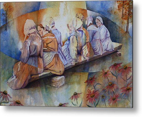 Costumed Figures In Landscape Metal Print featuring the painting Gossip Bench by Patsy Sharpe