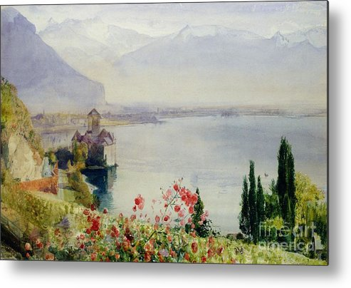 The Castle At Chillon Metal Print featuring the painting The Castle At Chillon by John William Inchbold