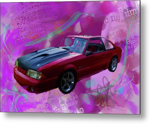 1993 Mustang Metal Print featuring the painting 93 Mustang V2 by Donald Pavlica