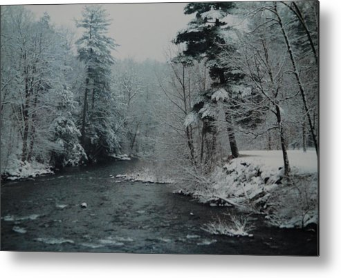 B&w Metal Print featuring the photograph A Winter Waterland by Rob Hans
