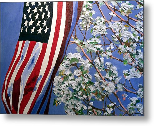 Flag Metal Print featuring the painting American Spring by Jim Phillips