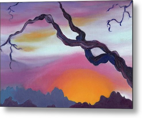 Original Metal Print featuring the painting Arizona Sunset by Suzanne Marie Leclair