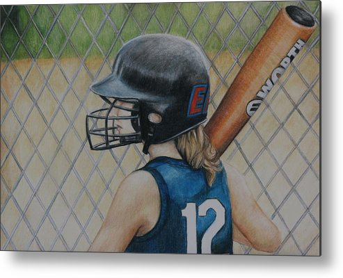 Softball Metal Print featuring the painting Batter Up by Charlotte Yealey