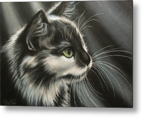 Cat Metal Print featuring the painting Black-white by Valentina Vassilieva