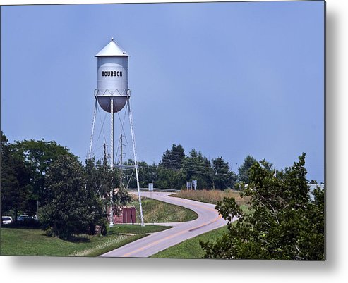 Bourbon Mo Missouri David Coblitz Water Tower I-44 Sites Sights Town Metal Print featuring the photograph Bourbon Mo Tower by David Coblitz