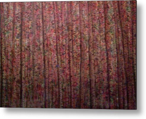 Trees Landscape Birch Aspen Metal Print featuring the painting Changes by Sally Van Driest