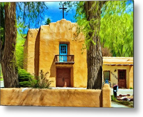 Chapel Metal Print featuring the painting Church With Blue Door by Jeffrey Kolker