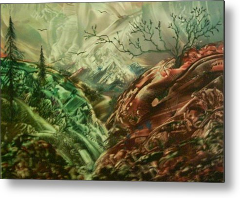 Landscape Metal Print featuring the painting Cloud Mountain by John Vandebrooke