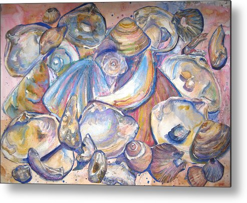 Collage Metal Print featuring the painting Collage Of Shells by Joyce Kanyuk