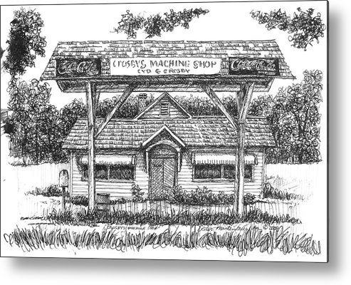 Pen And Ink Metal Print featuring the drawing Crosby's Machine Shop by Peter Muzyka