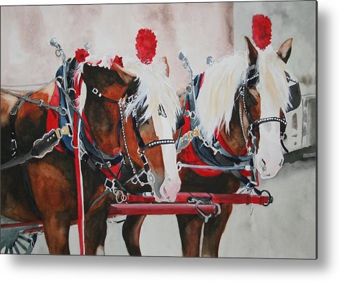 Horse Metal Print featuring the painting Dandy Duo by Jean Blackmer