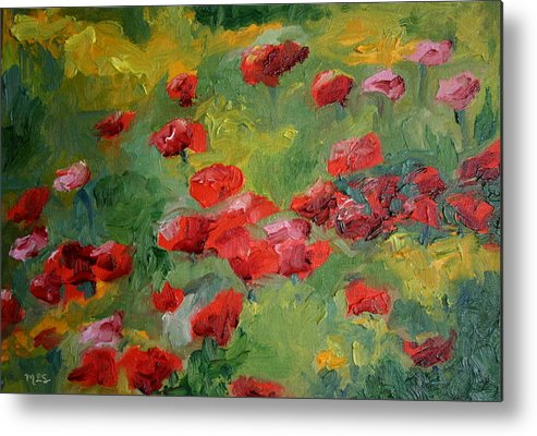 Landscape Metal Print featuring the painting Door County Poppies by Martha Layton Smith