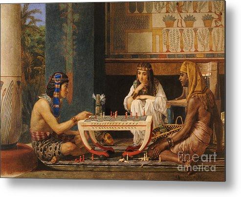 Egyptian Chess Players Metal Print featuring the painting Egyptian Chess Players by Sir Lawrence Alma-Tadema