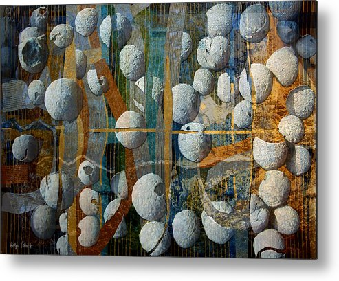 Photopainting Metal Print featuring the digital art Floating Elements by Helga Schmitt