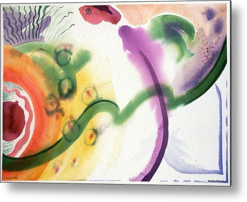 Abstract Metal Print featuring the painting Geomantic Blossom Ripening by Eileen Hale