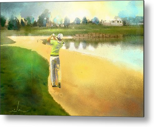 Golf Metal Print featuring the painting Golf In Club Fontana Austria 02 by Miki De Goodaboom