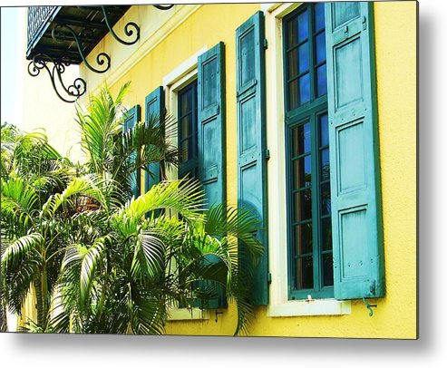 Architecture Metal Print featuring the photograph Green Shutters by Debbi Granruth