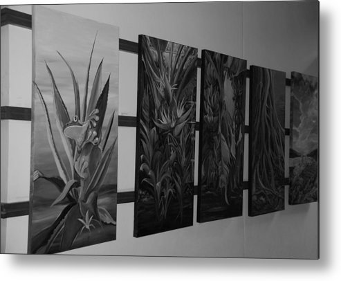 Black And White Metal Print featuring the photograph Hanging Art by Rob Hans