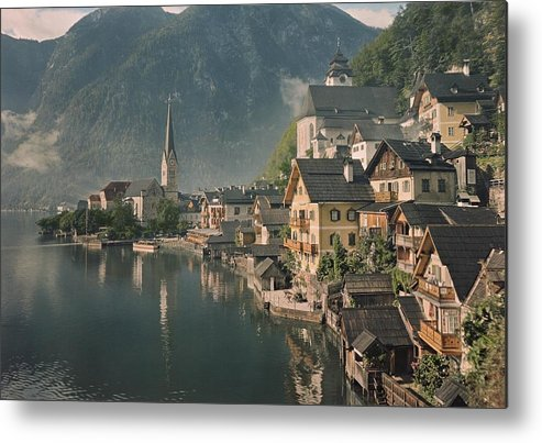 Color Image Metal Print featuring the photograph Houses Line The Lake Of Hallstatt by W. Robert Moore