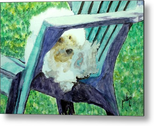 Bichon Metal Print featuring the painting Keep Off The Grass by Jim Phillips