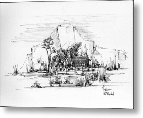 Landscape Metal Print featuring the drawing Landscape 1 by Padamvir Singh
