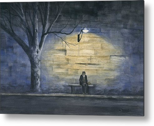 Paris Metal Print featuring the painting Lonely In Paris by Mary Tuomi