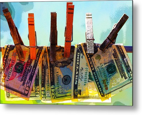 Clothespins Metal Print featuring the digital art Money Laundering by Karon Melillo DeVega